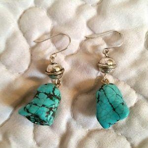 Vintage Turquoise Stone Silver Bead Dangle Earring